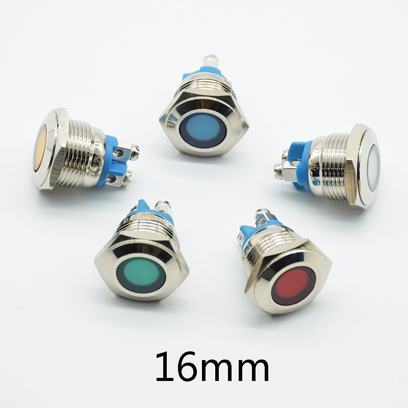 16mm Dia 6V 12V 24V 220V Metal LED Pilot Panel Dash Signal Indicator Warning Light With Screw Terminal Brass Chrome  Car Boat