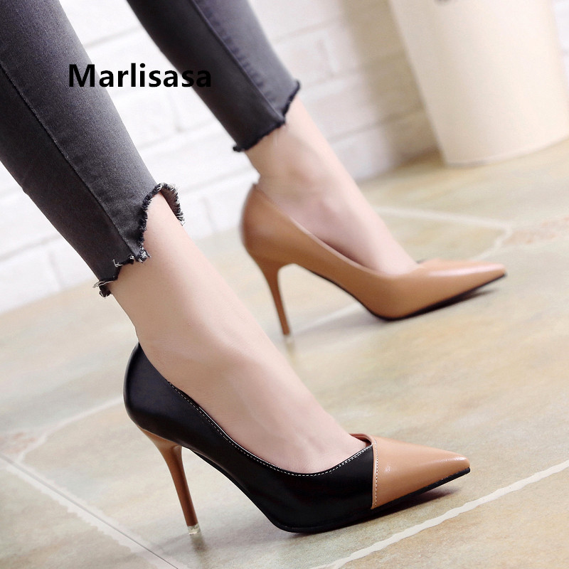 Marlisasa Women Cute Sweet Brown Slip On High Heel Stiletto Ladies Pink & White Party High Shoes Fashion Pump Talon Femme H2428b