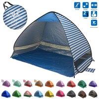 휴대용 접이식 비치 텐트 팝업 자동 캠핑 비치 텐트 빨리 야외 가족 텐트 uv50 + 200*120*130 cm 열기