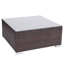 Oshion Outdoor Patio PE Wicker Rattan Coffee Table with tempered glass