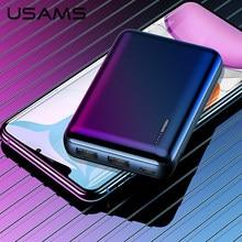 Usamsミニpowerbank 10000 12000mahデュアルusbポータブルバッテリ電源銀行充電器モバイル外部powerbank xiaomi mi 9 8 iphone