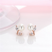925 sterling silver Stud earrings The leaves of pearl Set auger Womens fashion jewelry