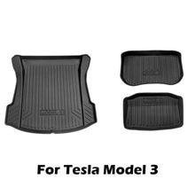 Alfombrilla de suelo de goma TPE para Tesla model 3, 2020, 2021, almohadilla de protección para maletero de coche, caja de almacenamiento trasera y delantera