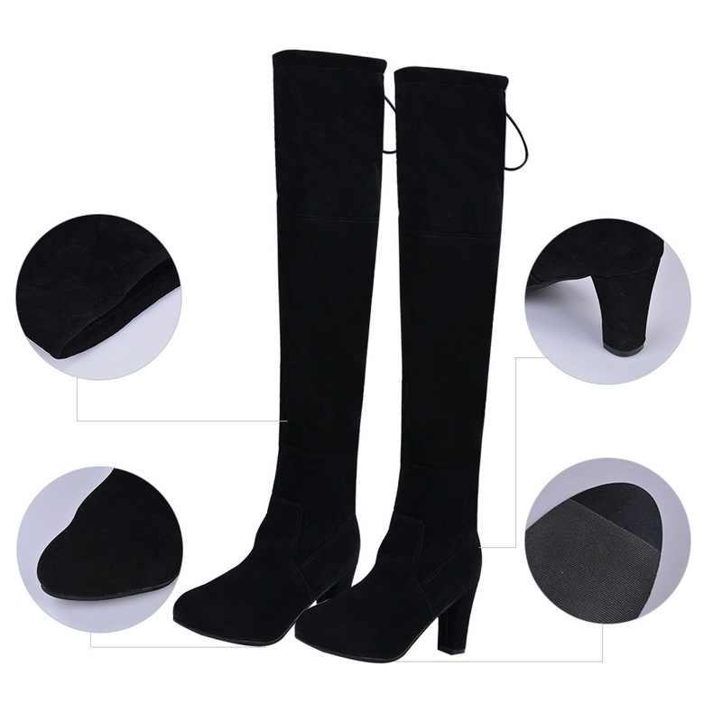 Moda ayakkabılar kadın aşırı diz streç akın botları Slip-on yüksek topuklu rahat bayan ayakkabıları 2019 sonbahar kış çizmeler