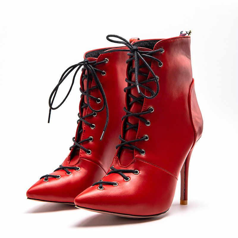 Asumer PLUS ขนาด 34-47 รองเท้าแฟชั่นสำหรับผู้หญิง pointed Toe Lace Up รองเท้าฤดูใบไม้ร่วงฤดูหนาวสุภาพสตรี PROM รองเท้า 2020 ใหม่