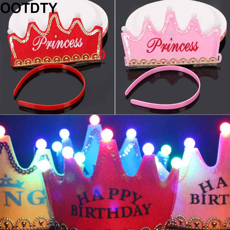 Baby Shower Princess Gold Crowns Foam Party Decorations It's A Girl Favors Glowing Crown Birthday Hat