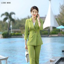 Women Business Formal Office Pants Skirts Suits Work Three Quarter Sleeve Blazer and Pant Female Green Black Trouser Skirt Suit