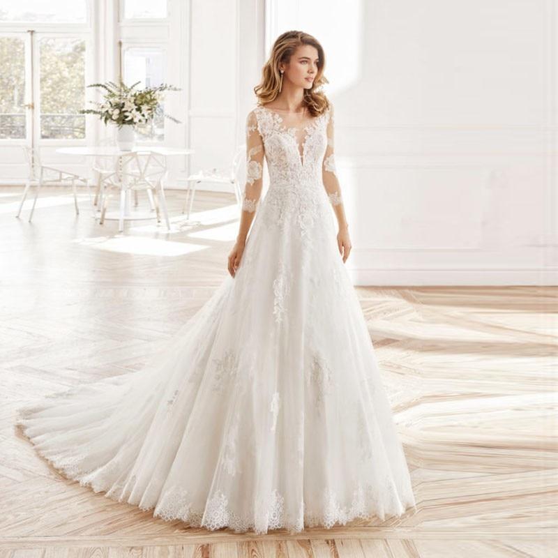 Eightale Long Sleeve Wedding Dresses Scoop Custom Made A-Line Vintage Wedding Gowns High Quality Bride Dresses Vestido Novia
