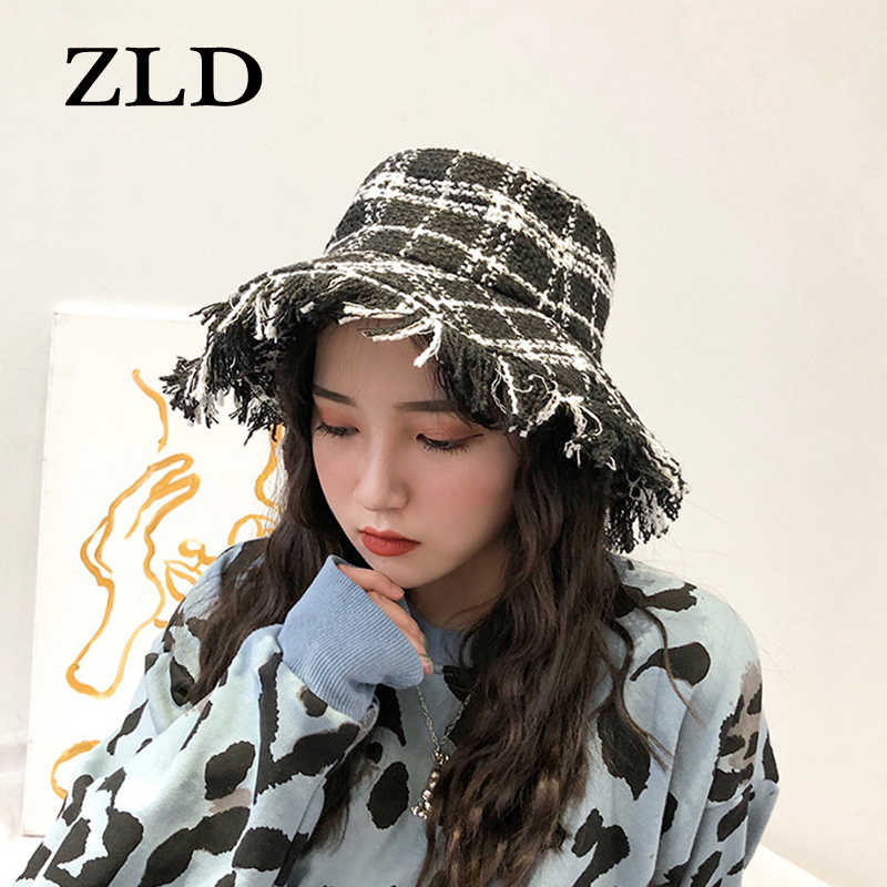 ZLD Emmer Hoeden Vrouwen Plaid Gebreide Elegante Outdoor Vouwen Fishermant Japanse Stijl Retro All-Match Vrouwen Trendy Simple Chic