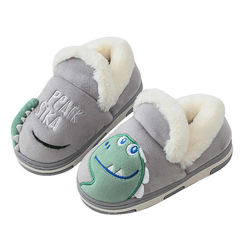 חורף 2019 ילדים בני בנות כותנה נעלי בית קריקטורה דינוזאור החלקה נעליים מקורה לילדים שינה חם כפכפים