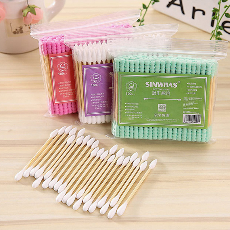 100 Pcs Color Double Head Cotton Swab Makeup Cotton Buds Tip For Medical Bamboo Wood Sticks Nose Ears Cleaning Health Care Tools