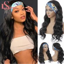 LS HAIR – perruque en cheveux Remy brésiliens naturels, demi-perruque, bandeau, cheveux humains, ondulés, Machine