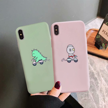 JAMULAR Funny Altman Dinosaur Couple Case For iPhone XS MAX XR X 7 8 6 6s Plus Cartoon Soft Matte Phone Cover Coque