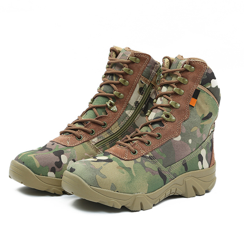 Nylon Sports Camouflage Wear-Resistant Outdoor Training Boots New Style Hight-top Hiking Boots Direct Selling Outdoor Combat Boo