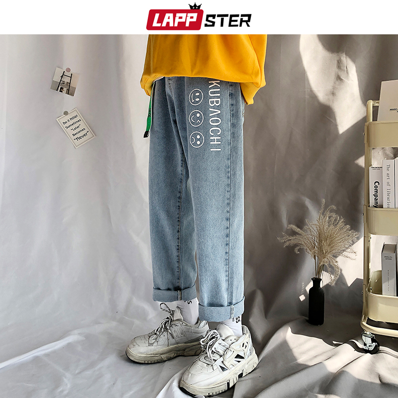 LAPPSTER Men Baggy Blue Jeans Mens 2020 Free Belt Streetwear Harem Pants Male Hip Hop Wide Leg Korean Fashions Denim Pants INS