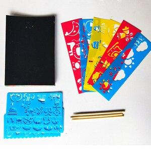 40/50 листов, Волшебная цветная радужная бумага для скретч Арта, набор карт с трафарет для граффити, для рисования, сделай сам, игрушка для рисования, для детей ZXH