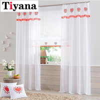 Tiyana 1 Piece Heart Tulle Curtains For Living Room Love Bedroom Windows Draperies Transparent Sheer Curtains Red Color JK059Y
