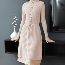 Fashion Sweater Dress Elegant Women Knitted Autumn Woman High Waist Dresses Pleated Stripe