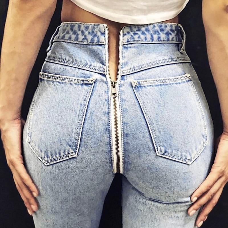 Vintage Ladies Jeans For Women Mid Waisted Jeans Back Zipper Light Blue Casual Pencil Trousers Korean Streetwear Denim Pants