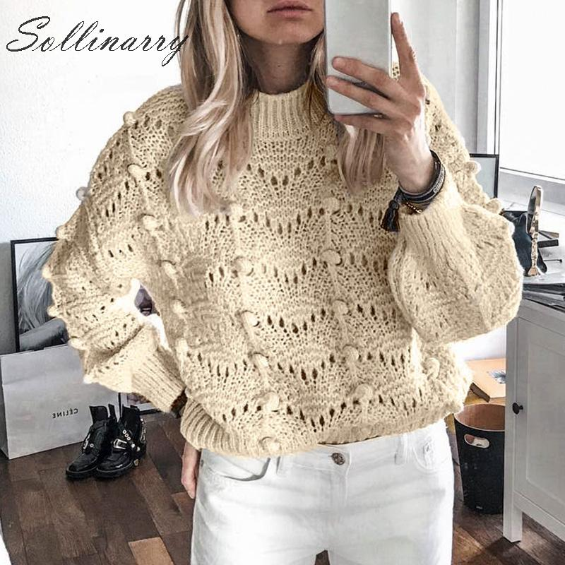 Sollinarry Creamy White Autumn Sweaters Pompom Women Hollow Out Casual Knitted Sweater Pullovers Tops Female Winter Sexy Jumpers
