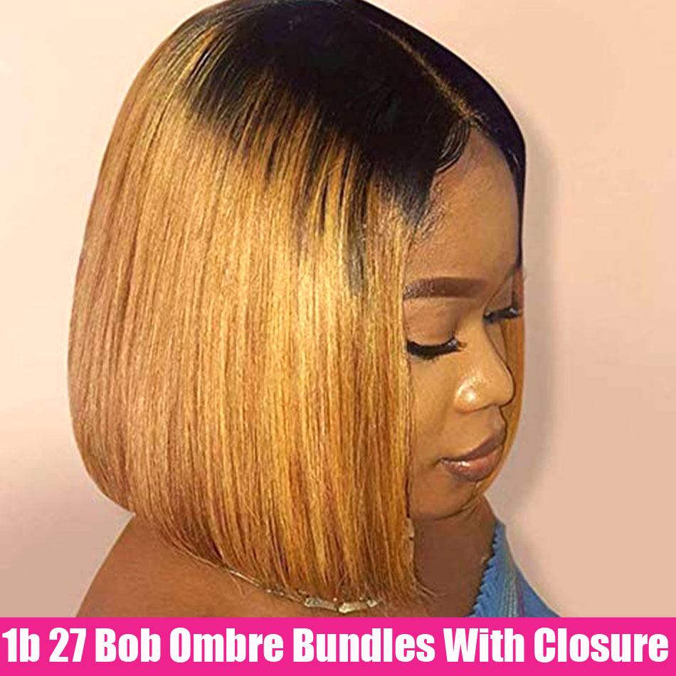 1B27 Ombre Straight Hair 3 Bundles With Closure Brazilian Hair Weave Bundles With Closure Remy Human Hair Bundles With Closure