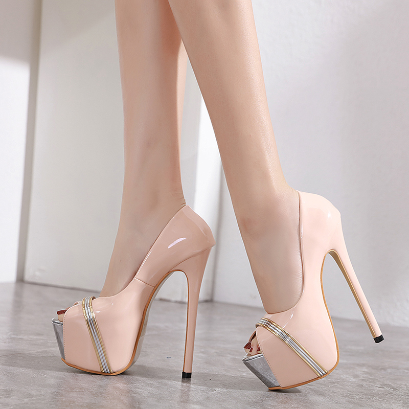 pole dance shoes <font><b>heels</b></font> beige metallic pumps <font><b>17cm</b></font> <font><b>high</b></font> <font><b>heel</b></font> <font><b>sexy</b></font> shoes porno Stiletto <font><b>Heels</b></font> Open Toe Pumps Womens <font><b>heels</b></font> YMB53 image