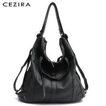 CEZIRA Hot Sale PU Washed Leather Women Large Shoulder Bag Ladies Soft Vegan Leather Backpacks Female Functional School knapsack