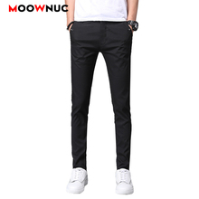 Fashion Autumn Mens Trousers Brand Long Pants Solid Pencil Casual Hombre Business Male Slim MOOWNUC
