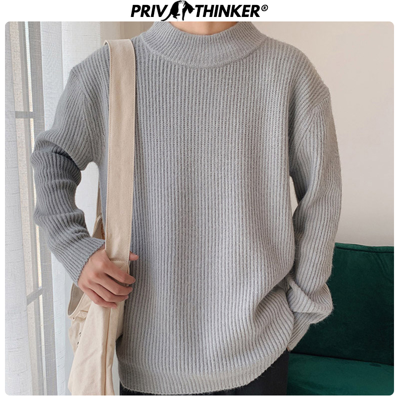 Privathinker 2020 Autumn 9 Colors Sweater Men Pullovers Tops Casual Male Knitted Solid Streetwear Mens Warm Sweater Fashions