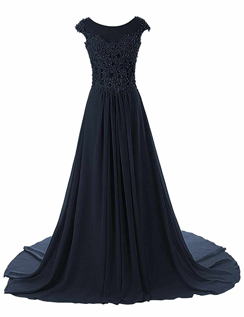 Elegant Women Cap Sleeve Prom Dresses 2020 Cheap Beading Lace Appliques Chiffon Sheer Neckline Evening Party Gowns