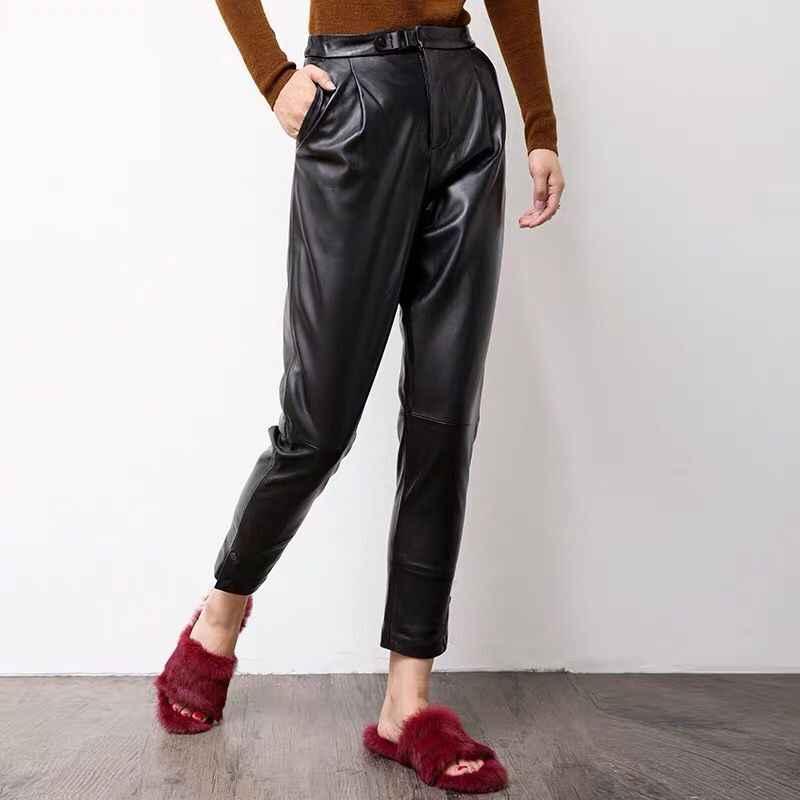 Kadın pantolon hakiki koyun deri pantolon Yüksek bel siyah harem pantolon Elastik kemer bel Pantolon 2019 yeni moda