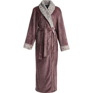 Image 3 - Mężczyźni zima Plus rozmiar długi przytulne flanelowe szlafrok Kimono ciepły koral polar szlafrok noc futro szaty szlafrok bielizna nocna dla kobiet