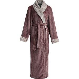 Image 3 - Peignoir en flanelle pour hommes, grande taille, tenue de bain en molleton de corail chaud, tenue de nuit en fourrure, vêtements de nuit pour femmes