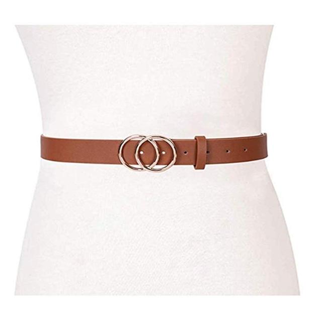 New Designer Women Wide Black Red White Brown Leather Waist Belt Woman Double O Ring Belts for Dress Cinturones