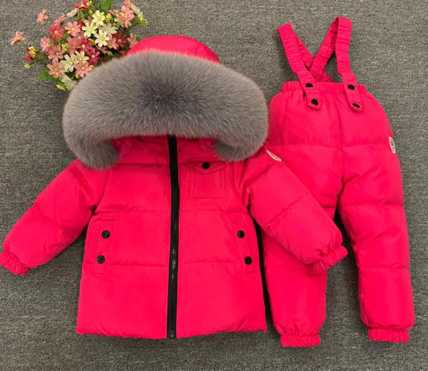 Children's winter suit kid's down 2 pieces Boys and girls wear thick ski jackets - 2