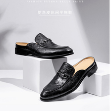 ouluoer South African ostrich leather slippers for men, English baguette semi-slippers with beanless men moller shoes