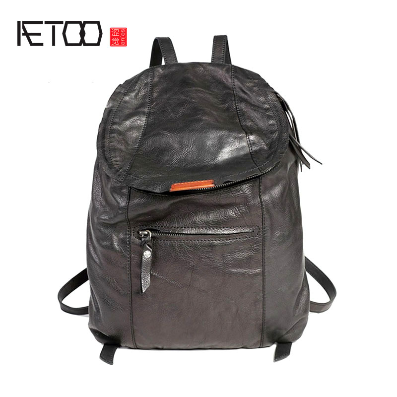 AETOO Shoulder bag, vintage handmade head-layer cowhide locomotive bag, leather trend men's and women's travel bags
