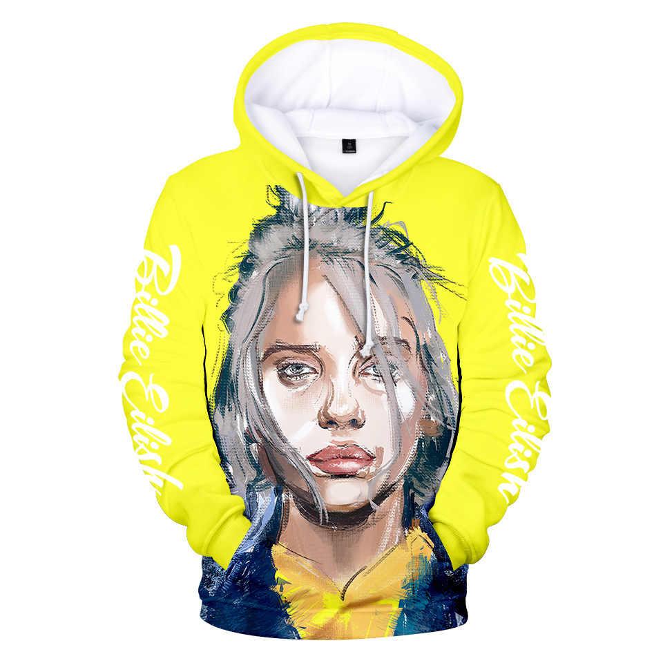 Heißer 3D Harajuku Druck Billie Eilish Hoodie Männer/Frauen Hip Hop Hoodie Pullover Beerdigung Amerikanischen Sänger Billie Eilish Fans kleidung