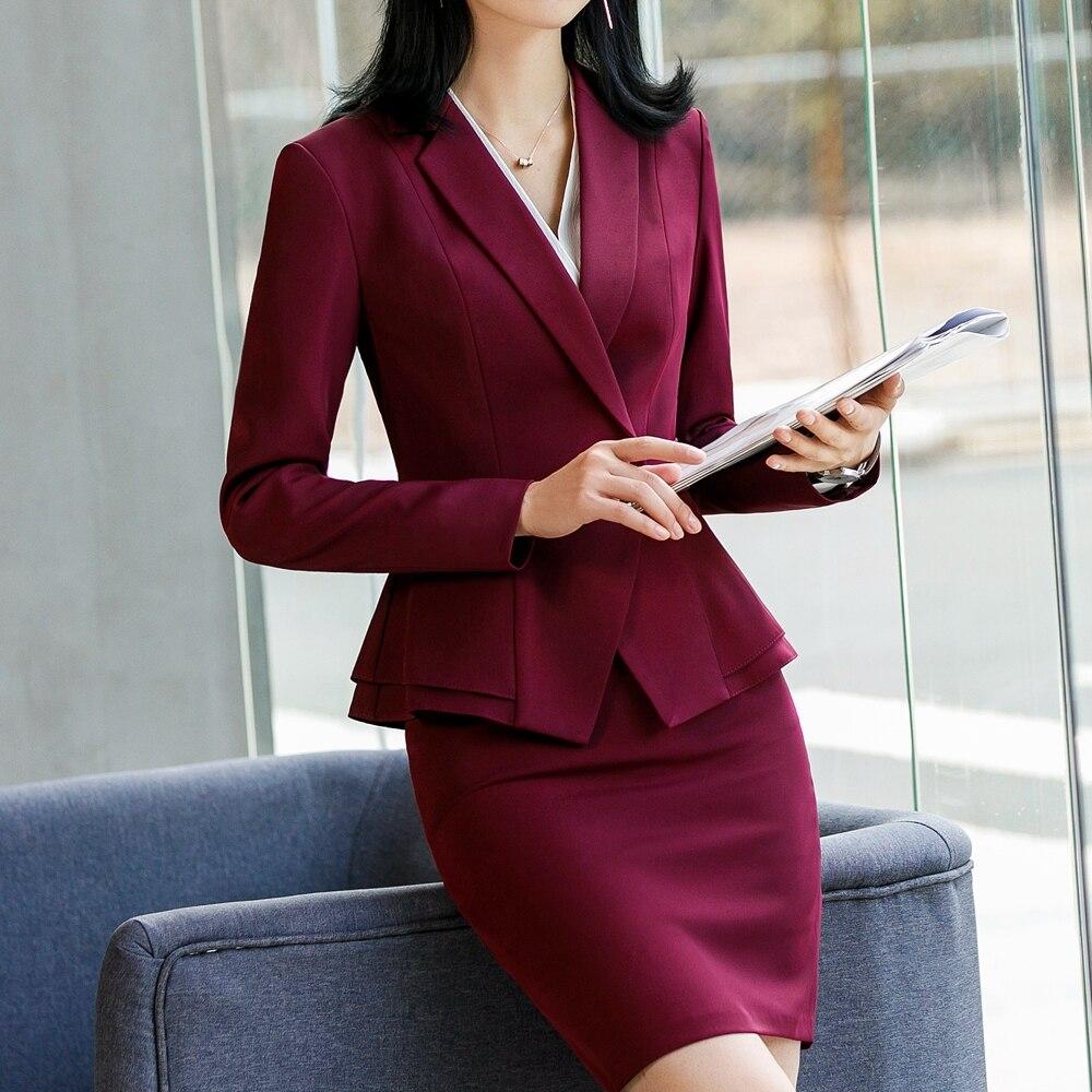 Vestido de escritório coreano 2 peças terno e saia terno primavera elegante manga longa plissado jaqueta e saia 2 peças terno pa
