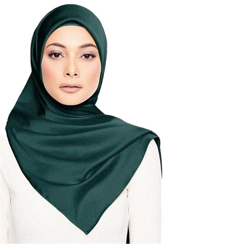 Luxury Brand 2019 New Fashion Silk Square Scarf Women Satin Neck Hairband Beach Shawl Female Foulard Muslim Hijab Headscarf