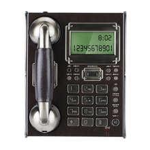 هاتف ثابت على الطراز الأوروبي العتيق ، هاتف منزلي ، ساعة منبه