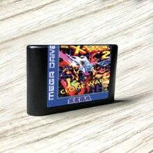 وحدة تحكم ألعاب الفيديو X man 2 Clone Wars ، ملصقات EUR ، مجموعة فلاش MD ، بطاقة PCB ذهبية بدون لحام لـ sega Genesis ، Megadrive
