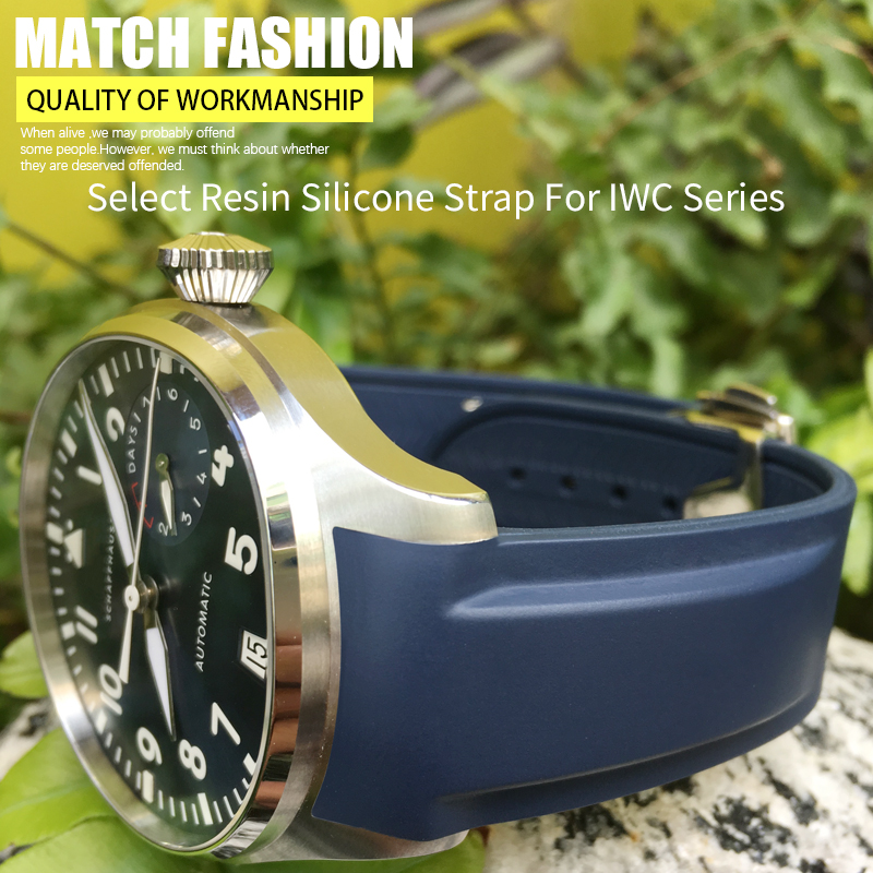 19mm 20mm 21mm 22mm Rubber Silicone Watch Strap Fold Buckle Watch Band For IWC PILOT PORTUGIESERMarkPORTOFINO FAMILYWatch