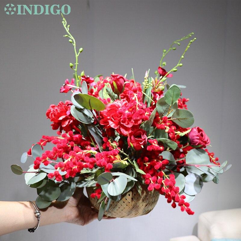 Индиго дизайн 1 комплект красный Рождество Мимоза бонсай цветок композиция с вазой искусственный цветок украшение стола Бесплатная доставка - 5