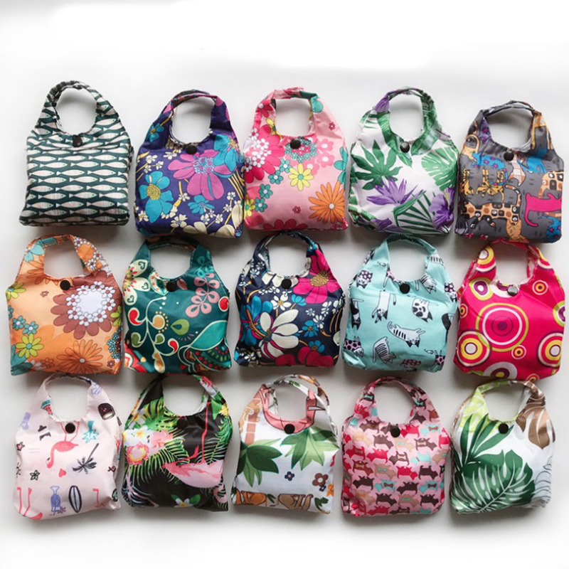 2019 New Lady Foldable Recycle Shopping Bag Eco Reusable Shopping Tote Bag Cartoon Floral Fruit Vegetable Grocery Random Color