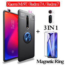 3-in-1 Glass + Magnetic Silicone Case for Xiaomi Mi 9 T Soft phone Redmi-7-A Full Cover xiaomi mi 9t magnetic ring