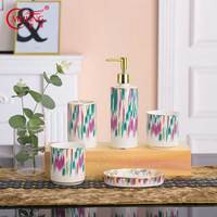 Colorful Porcelain Bathroom Accessories Set Luxury Bathroom Hotel Home Decor Ceramic Toothbrush Cup Holder Toothpaste Dispenser