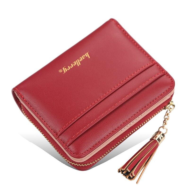 2021 New Women Wallets Short Women's Wallet Small Zipper Coin Purse Card Holder Luxury Brand PU Leather Female Wallet Red Black
