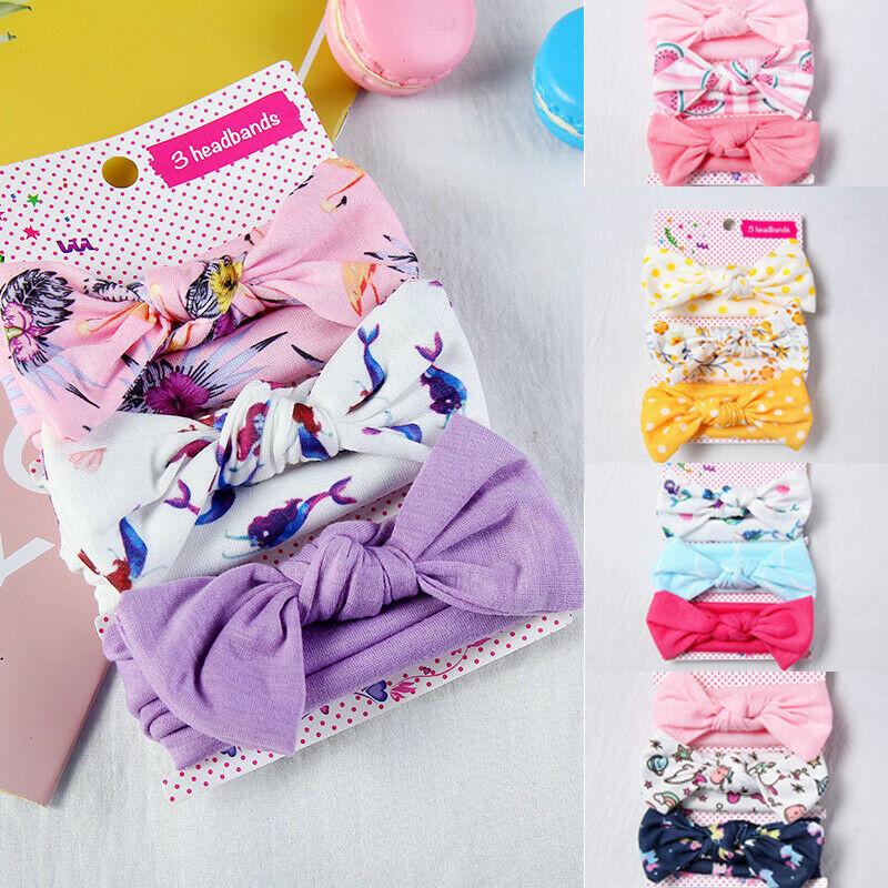 3pcs/lot Children Rabbit Ear Headwear Cute Fashion Elastic Floral Hair Bands Printing Cotton Girl Headband Accesorries