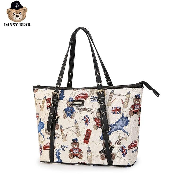 Danny Bear Travel Tote Bag For Women Fabric Hand Bag Shoulder Bag Simple Style Women Big Vintage Handbag DMDB9115045-188W